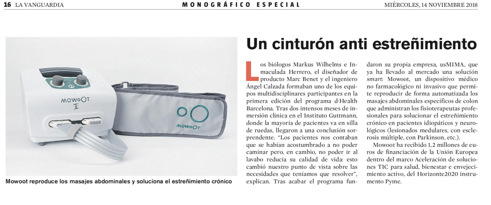 MOWOOT, un cinturón anti estreñimiento en La Vanguardia