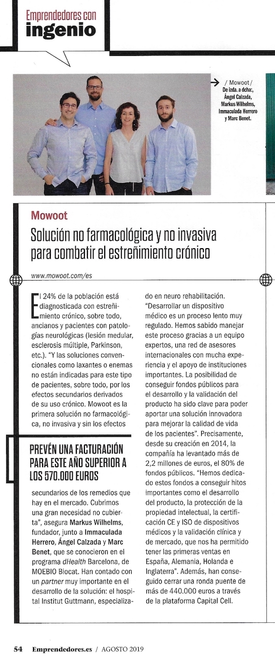 MOWOOT, medical device against constipation, at Emprendedores magazine